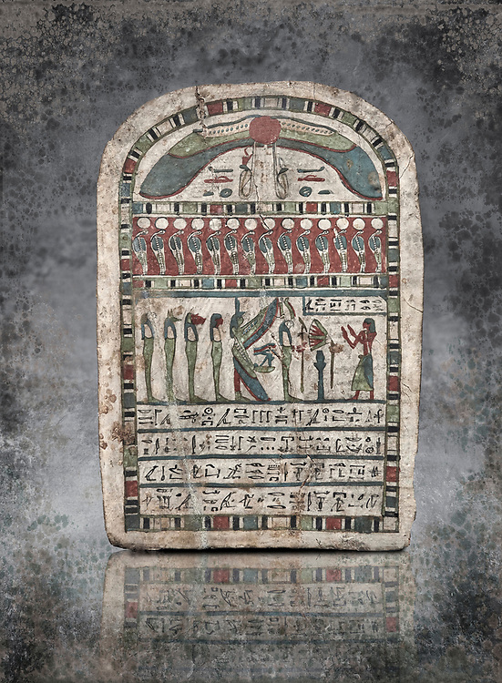 Ancient Egyptian stele dedicated to Re-Harakhty by Irtiertjay,  Late Period, 25th Dynasty, (7620-580 BC), Thebes, Cat 1530. Egyptian Museum, Turin. <br /> <br /> The round topped stele dedicated by Irtiertjay to Re-Harakhty , Isis and the 4 sons of Horus. Gifted by the Cairo Museum .<br /> <br /> Visit our HISTORIC WALL ART PRINT COLLECTIONS for more photo prints https://funkystock.photoshelter.com/gallery-collection/Historic-Antiquities-Photo-Wall-Art-Prints-by-Photographer-Paul-E-Williams/C00002uapXzaCx7Y<br /> <br /> Visit our Museum ART & ANTIQUITIES COLLECTIONS to browse more photo at: https://funkystock.photoshelter.com/p/museum-antiquities