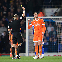 Blackpool's Ryan Edwards is shown a yellow card by referee Stephen Martin<br /> <br /> Photographer Chris Vaughan/CameraSport<br /> <br /> The EFL Sky Bet League One - Ipswich Town v Blackpool - Saturday 23rd November 2019 - Portman Road - Ipswich<br /> <br /> World Copyright © 2019 CameraSport. All rights reserved. 43 Linden Ave. Countesthorpe. Leicester. England. LE8 5PG - Tel: +44 (0) 116 277 4147 - admin@camerasport.com - www.camerasport.com