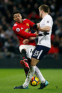Jesse Lingard of Manchester United (L) in action with Eric Dier of Tottenham Hotspur (R). Premier league match, Tottenham Hotspur v Manchester Utd at Wembley Stadium in London on Wednesday 31st January 2018.<br /> pic by Steffan Bowen, Andrew Orchard sports photography.