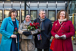 London, UK. 14th February, 2019. Frances O'Grady (General Secretary of the TUC), Katie Leslie (PCS), Mark Serwotka (General Secretary of PCS) and Fran Heathcote (President of the DWP group of PCS) show solidarity on a Valentine's Day-themed picket line outside the Department of Business, Energy and Industrial Strategy (BEIS) with outsourced support staff taking strike action to demand the London Living Wage and an end to outsourcing.