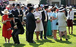 The Duchess of Cambridge (centre) during day one of Royal Ascot at Ascot Racecourse.