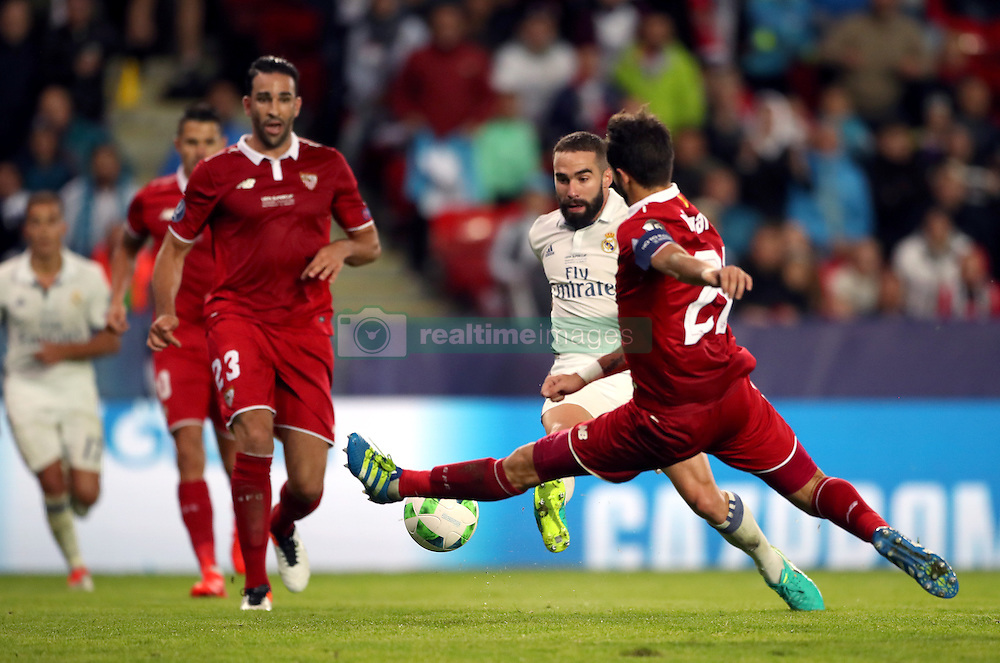 Real Madrid's Daniel Carvajal scores his side's third goal of the game