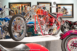 Donnie Smith's Headhunter custom Harley-Davidson 84 ci Shovelhead in a SB&F rigid frame from 1982 in the Heavy Mettle - Motorcycles and Art with Moxie exhibition at the Sturgis Buffalo Chip. This is the 2020 iteration of the annual Motorcycles as Art series curated and produced by Michael Lichter. Sturgis, SD, USA. Friday, August 7, 2020. Photography ©2020 Michael Lichter.