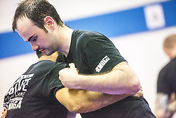 Tal Kvores, KMG GIT (Expert 4), takes today's IKMS G Level Programme class at the Scottish Martial Arts Centre, Tullibody.<br /> ©Michael Schofield.