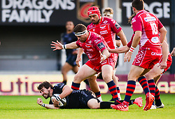 Sam Davies of Dragons jumps on the loose ball Guinness PRO14, Rodney Parade, Newport, UK 29/08/2020<br /> Dragons vs Scarlets<br /> <br /> Mandatory Credit ©INPHO/Dougie Allward