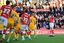 Bristol City's Aden Flint takes a shot at goal. - Photo mandatory by-line: Dougie Allward/JMP - Mobile: 07966 386802 - 22/11/2014 - Sport - Football - Bristol - Ashton Gate - Bristol City v Preston North End - Sky Bet League One