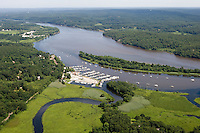 Aerial of Eustasia Island and Brewer's Marina on the Connecticut River at Deep River, CT.
