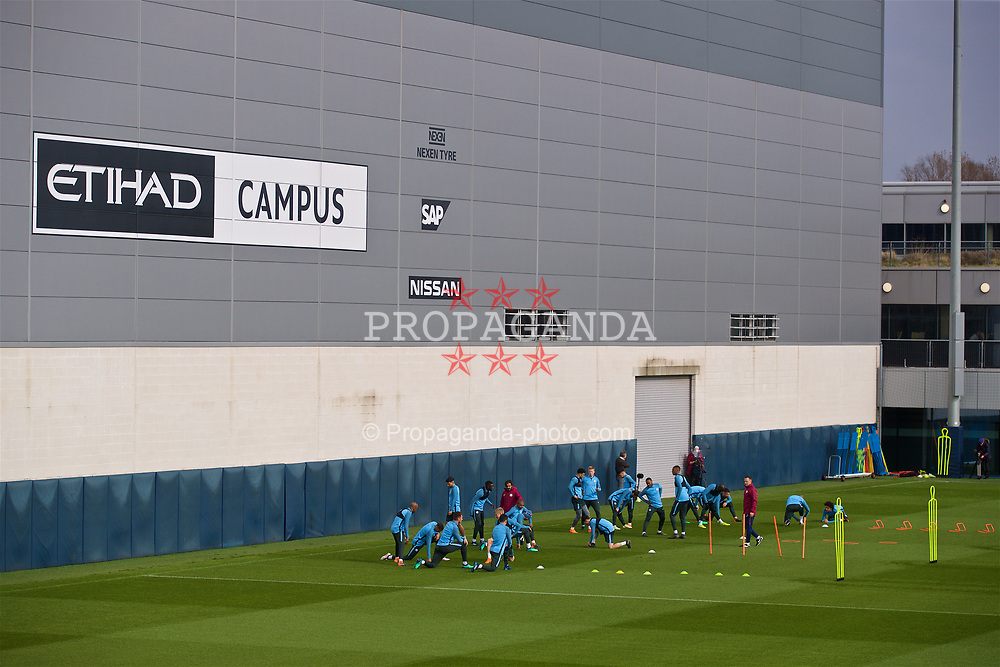 MANCHESTER, ENGLAND - Monday, April 9, 2018: Manchester City players during a training session at the City Football Academy ahead of the UEFA Champions League Quarter-Final 2nd Leg match between Manchester City FC and Liverpool FC. (Pic by David Rawcliffe/Propaganda)