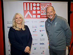 LIVERPOOL, ENGLAND - Wednesday, August 15, 2018: Everton's Chief Executive Professor Denise Barrett-Baxendale (left) and Liverpool FC's Chief Executive Peter Moore (right) after playing a round of Boccia at the BISFed 2018 Word Boccia Championships in the Liverpool Exhibition Centre. Liverpool won 3-1. (Pic by David Rawcliffe/Propaganda)