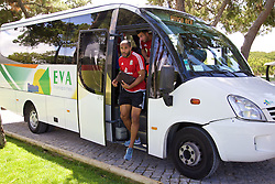 VALE DO LOBO, PORTUGAL - Friday, May 27, 2016: Wales' captain Ashley Williams arrives for training on during day four of the pre-UEFA Euro 2016 training camp at the Vale Do Lobo resort in Portugal. (Pic by David Rawcliffe/Propaganda)
