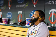 Prince Fielder (28) of the Detroit Tigers smiles in the dugout during a game against the Minnesota Twins on August 14, 2012 at Target Field in Minneapolis, Minnesota.  The Tigers defeated the Twins 8 to 4.  Photo: Ben Krause