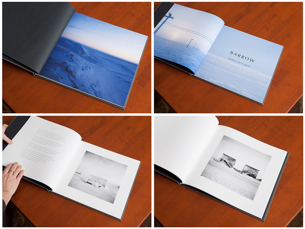 """Elegantly produced, """"Barrow"""" is 34 pages, and features twelve black and white and four color images. Printed in my studio each page is archival pigment printing on 100% cotten rag, Moab Entrada Bright, Hardbound in slipcase. Edition of ten with two artist's proofs. Signed and numbered. First copy $450, with price increases as edition is sold. <br /> <br /> Direct link: https://robbiemcclaran.photoshelter.com/gallery/Barrow-Artists-Book/G00006jsaxIwdzv0"""