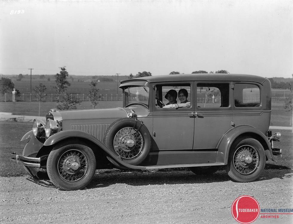 1928 Studebaker President Five Passenger Sedan.  This image was taken at Studebaker's Proving Ground.