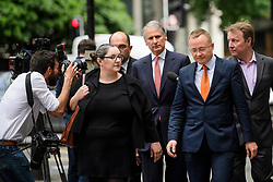 © Licensed to London News Pictures. 03/07/2017. London, UK. TOM KALARIS (Centre red tie) arrives at Westminster Magistrates Court in London where he is charged with conspiracy to commit fraud. Barclays executives John Varley, Roger Jenkins, Thomas Kalaris and Richard Boath were charged by the Serious Fraud Office following events that took place at the height of the financial crisis, when Barclays avoided a taxpayer bailout by raising £11. 8bn in emergency funds from a number of major investors, including Qatar. Photo credit: Ben Cawthra/LNP