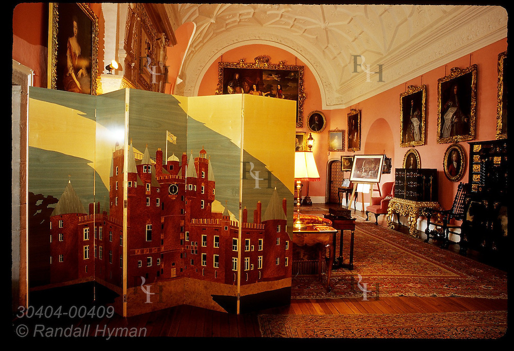 Wood marquetry screen (1993) of Glamis Castle designed by Princess Margaret's son, Viscount Linley, in Drawing Room; Scotland.