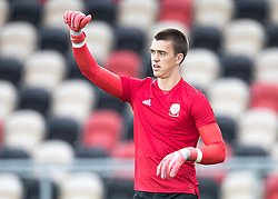 NEWPORT, WALES - Tuesday, October 16, 2018: Wales' goalkeeper Owen Evans warms up ahead of the UEFA Under-21 Championship Italy 2019 Qualifying Group B match between Wales and Switzerland at Rodney Parade. (Pic by Laura Malkin/Propaganda)