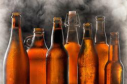Beer Bottles with Smoke