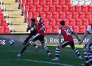 Lewis Page (20) of Exeter City blocked cross from Stevenage defender Remeao Hutton(12) during the EFL Sky Bet League 2 match between Exeter City and Stevenage at St James' Park, Exeter, England on 23 January 2021.