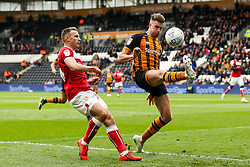 Reece Burke of Hull City clears the ball from Andreas Weimann of Bristol City - Mandatory by-line: Robbie Stephenson/JMP - 05/05/2019 - FOOTBALL - KCOM Stadium - Hull, England - Hull City v Bristol City - Sky Bet Championship