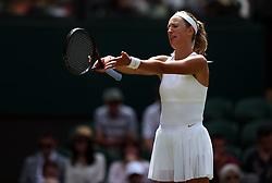 Victoria Azarenka reacts during her match against Karolina Pliskova on day three of the Wimbledon Championships at the All England Lawn Tennis and Croquet Club, Wimbledon.