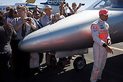 2008 Formula 1 world champion driver Lewis Hamilton attends corporate event at Farnborough air show with Bombardier Learjet aircraft nose