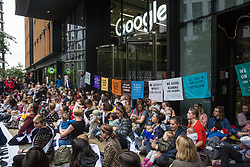 London, UK. 16 October, 2019. Mothers and babies defy the Metropolitan Police ban on Extinction Rebellion Autumn Uprising protests under Section 14 of the Public Order Act 1986 by attending a protest outside the Kings Cross headquarters of Google against its role in 'enabling the spread of systematic disinformation on climate change and the ecological crisis'.
