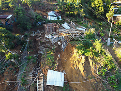 Flooding and landslides across Honduras after hurricanes Eta and Iota washed away roads, farms and houses. Here in El Zapote village, Gualala, Santa Barbara, 60 families were affected by complete loss or severe damage of their houses.