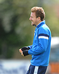 Bristol Rovers' Chris Lines smiles during training ahead of the Vanarama Conference Play Off Final match against Grimsby Town at Wembley Stadium - Photo mandatory by-line: Dougie Allward/JMP - Mobile: 07966 386802 - 12/05/2015 - SPORT - Football - Bristol - Memorial Stadium - Bristol Rovers v Grimbsy Town - Vanarama Football Conference