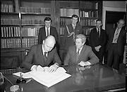Dissolution of 22nd Dáil Éireann 1982. .27/01/1982.01/27/82.27th January 1982.Image of the President, Patrick Hillary, singing warrant of dissolution of the Dáil. The signing was carried out at  Áras an Uachtaráin