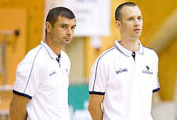 Tomaz Brinec and Gasper Potocnik, assistant coaches during practice session of Slovenian National Basketball team during training camp for Eurobasket Lithuania 2011, on July 12, 2011, in Arena Vitranc, Kranjska Gora, Slovenia. (Photo by Vid Ponikvar / Sportida)