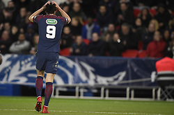 Paris Saint-Germain's Uruguayan forward Edinson Cavani reacts during the French Cup round of 16 football match between Paris Saint-Germain (PSG) and Guingamp (EAG) at the Parc des Princes stadium in Paris on January 24, 2018. Photo by Eliot Blondet/ABACAPRESS.COM