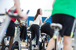 "© Licensed to London News Pictures . 01/03/2016 . Manchester , UK . Hollyoaks actress JENNIFER METCALFE launches a national fundraiser , "" The Better Bike Challenge "" from the East Manchester Leisure Centre in Beswick . The Challenge features 10,000 people cycling one-mile , each donating £1 to #TeamBetter for Sport Relief . Photo credit : Joel Goodman/LNP"