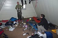 Inside one of the rigged mountain cabins.