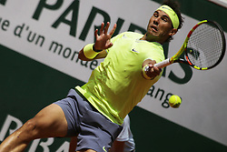 May 27, 2019 - Paris, France - Rafael Nadal of Spain hits a shot during the man's singles first round of the French Open tennis tournament against Yannick Hanfmann of Germany at Roland Garros in Paris, France on May 27, 2019. (Credit Image: © Ibrahim Ezzat/NurPhoto via ZUMA Press)