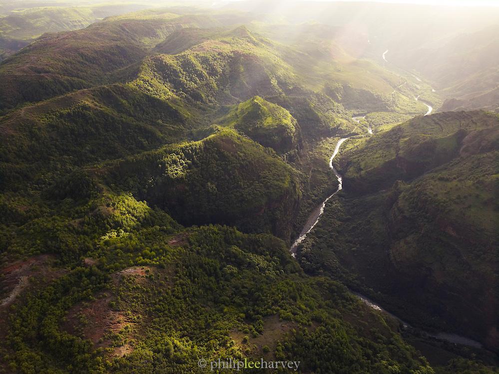 Aerial view of Waimea Canyon State Park, Kaua'i, Hawai'i