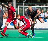 St.-Job-In 't Goor / Antwerpen -  6Nations U23 -  Tjep Hoemakers (Ned) met Tom Sorsby (GB) en Jack Waller (GB)  . Nederland Jong Oranje Heren (JOH) - Groot Brittannie .  COPYRIGHT  KOEN SUYK