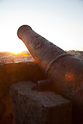 An old cannon in the grounds of the Castle of Sao Jorge, overlooking the city of Lisbon, capital of Portugal