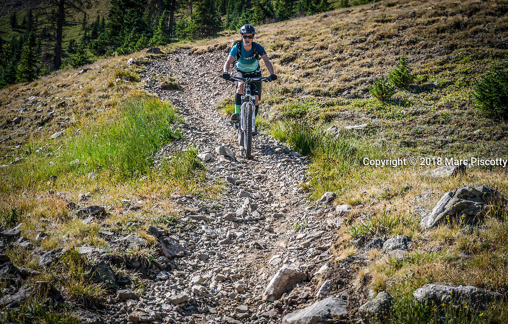 SHOT 7/27/18 9:46:38 AM - Jane Barnette of Salida, Co. mountain biking the Fooses Creek Trail section of the Monarch Crest Trail with friends. Monarch Pass and the Monarch Crest Trails are located in Southern Colorado between the towns of Salida to the east and Gunnison to the west. The beautiful high alpine riding and huge descents of the Monarch Crest Trail make it one of Colorado's classic mountain bike trails.  (Photo by Marc Piscotty / © 2018)