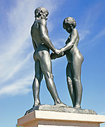 'Ungdom', Youth, sculpture by Carl Eldh, of naked male and female figures, Rottneros park, Sweden 1970