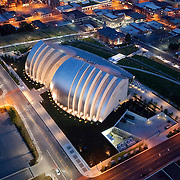 Aerial photo of Kauffman Center for the Performing Arts site in downtown Kansas City, Missouri.