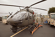 Army National Guard crew preparing Lakota for display at Warbirds Over the West.
