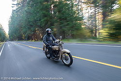 Tom Hayes riding his Harley-Davidson F during Stage 16 (142 miles) of the Motorcycle Cannonball Cross-Country Endurance Run, which on this day ran from Yakima to Tacoma, WA, USA. Sunday, September 21, 2014.  Photography ©2014 Michael Lichter.