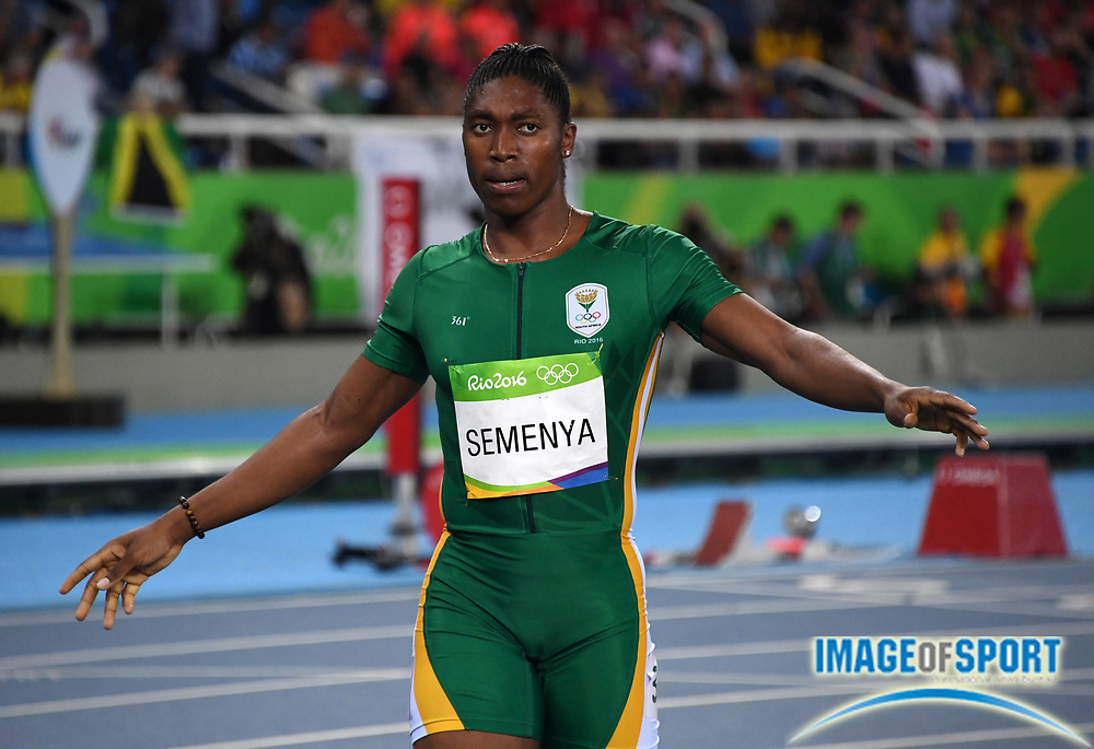 Aug 20, 2016; Rio de Janeiro, Brazil; Caster Semenya (RSA) reacts after winning the women's 800m in a national record 1:55.28 during the 2016 Rio Olympics at Estadio Olimpico Joao Havelange. <br /> <br /> *