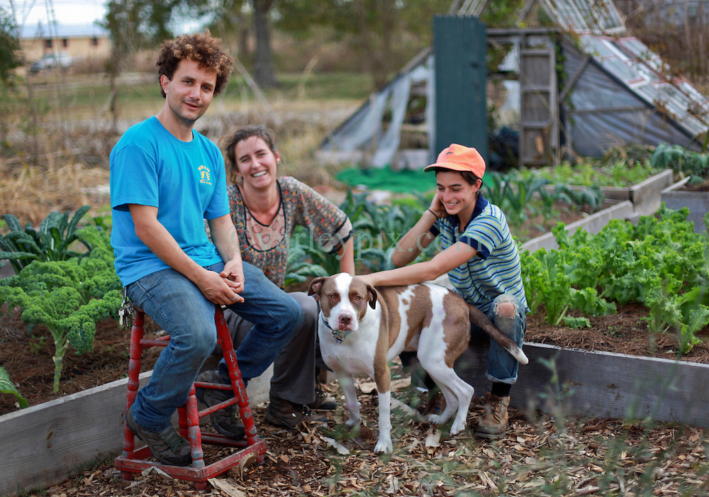 03 December 2013. Lower 9th Ward, New Orleans, Louisiana. <br /> Urban 'guerrilla' gardeners L/R; Jamal Elhayek, Eleanor Warner and Clare Southworth are bringing sustainable garden farming to abandoned lots in the Lower 9th ward.<br /> Photo; Charlie Varley
