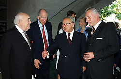 Left to right, LORD WEIDENFELD, LORD ROTHSCHILD,  HUBERT BURDA and ? at the opening of 'Princely Splendour; The Dresden Court 1580-1620' a new temporary exhibition at The Gilbert Collection, Somerset House, London sposored by Hubert Bruda Media, The Schroder Family and WestLB AG on 8th June 2005.<br />