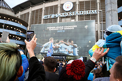 Fans arrive at the Etihad stadium during the Premier League match at the Etihad Stadium, Manchester.