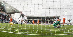 Falkirk's Aaron Muirhead cele scoring their second goal from a penalty. Falkirk 3 v 0 Dundee United, Scottish Championship game played 11/2/2017 at The Falkirk Stadium.