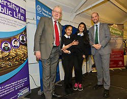 Pictured: Mike Russell and fellow MSP Ben MacPherson meets some of the pupils at Drummond Community High School<br /> <br /> SNP Brexit minister Mike Russell spoke at an Edinburgh and Lothians Regional Equality Council event which aimed to facilitate discussion between service providers in the public and third sectors, and asylum seekers and refugees in order to hear about the circumstances and needs.<br /> <br /> Ger Harley   EEm 6 December 2016