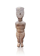 Female figurine statuette : Cycladic Canonical type, Spedos variety. Early Cycladic Period II, (2800-2300 BC), ' Museum of Cycladic Art Athens. Against white.<br /> <br /> The cycaldic figurine has its facial features preserved in relief. The eyes, eye brows and hair was probably painted which subsequently protected theses areas of the marble from erosion. Red pigment was found on the cheek and thighs. This is a mature work of the Spedos variety