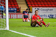 Charlton Athletic defender Toby Stevenson (43) shows his frustration his header off target during the The FA Cup 2nd round match between Charlton Athletic and Doncaster Rovers at The Valley, London, England on 1 December 2018. Photo by Toyin Oshodi